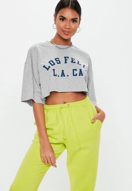 a6654abdd874cc Slogan Crop Tops. Grey Tops