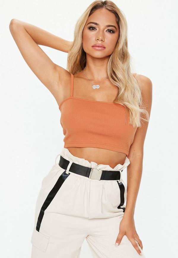 Rust Straight Neck Strappy Crop Top by Missguided
