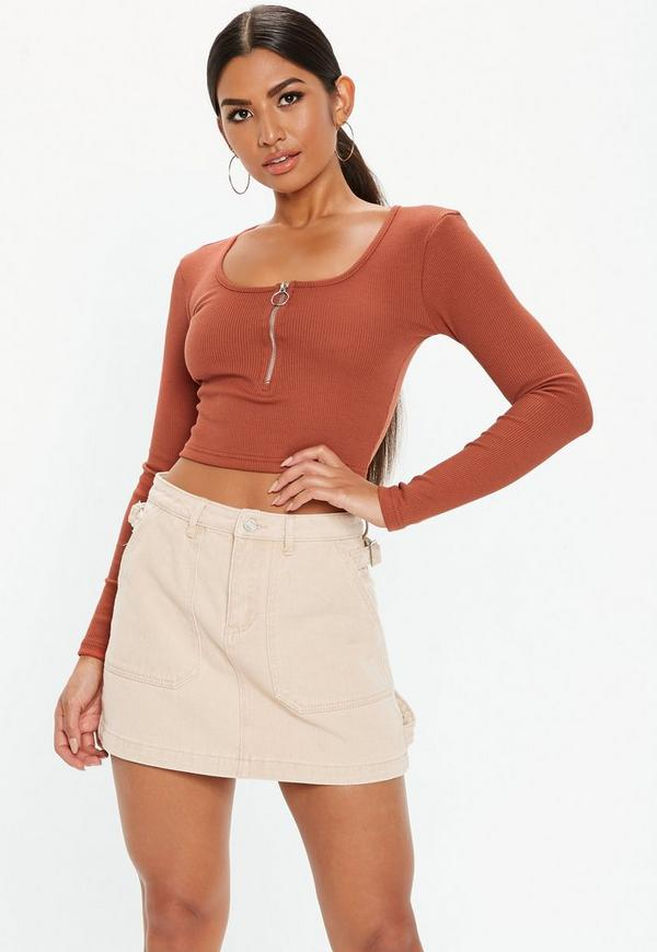 06ad4fa7eb78a Rust Ribbed Zip Front Crop Top