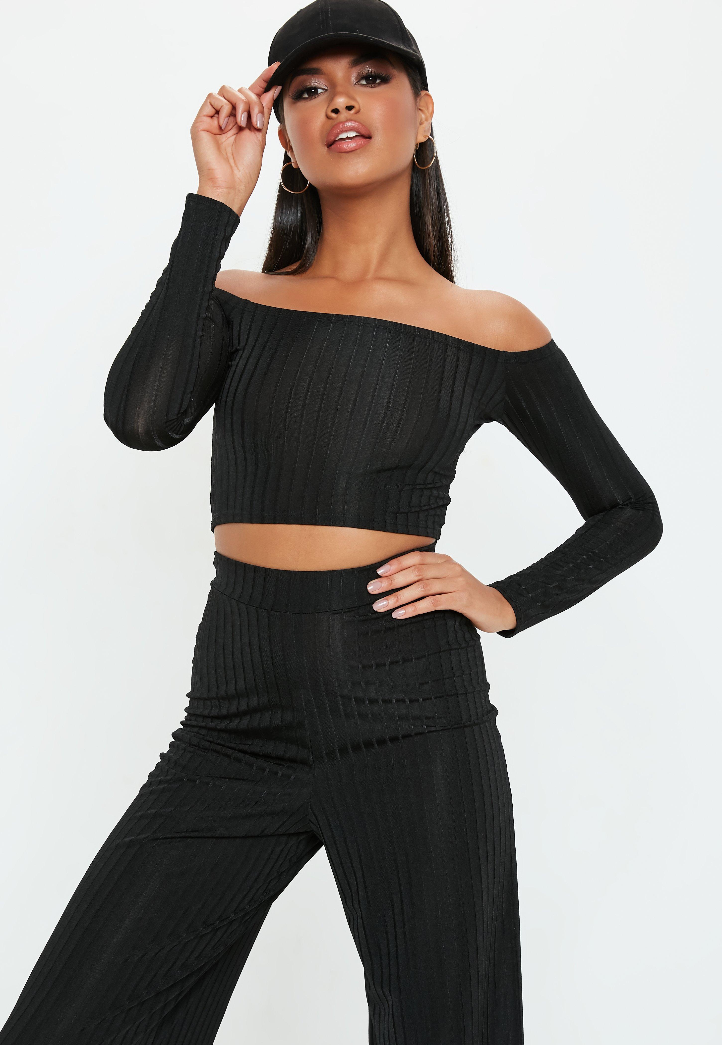 64a74d3852a Black Shiny Ribbed Bardot Crop Top | Missguided Ireland