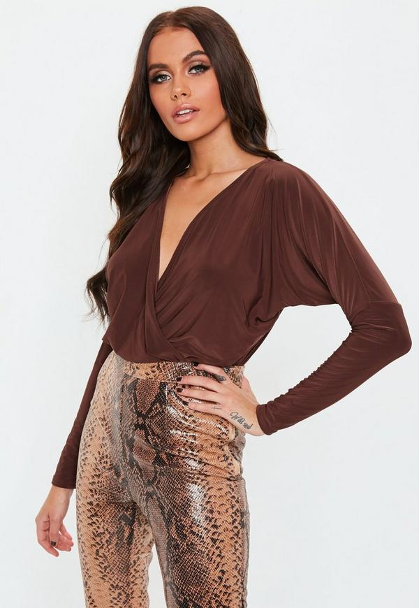 Chocolate Long Sleeve Wrap Front Slinky Bodysuit by Missguided
