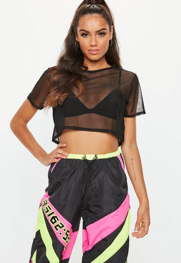 2408fe568a380 Black Mesh Cropped T Shirt