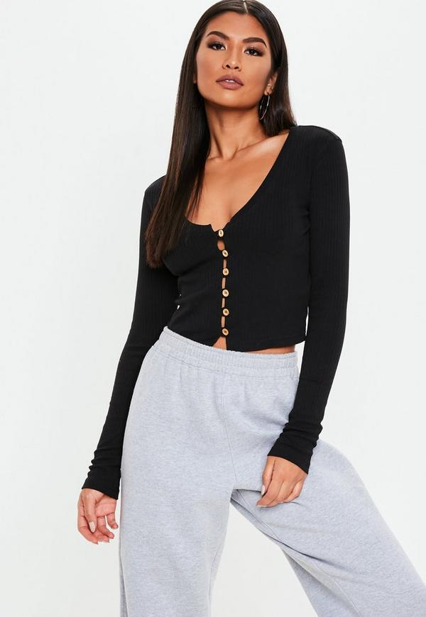 cf61b9ff07c43 ... Black Wooden Button Front Long Sleeve Crop Top. Previous Next