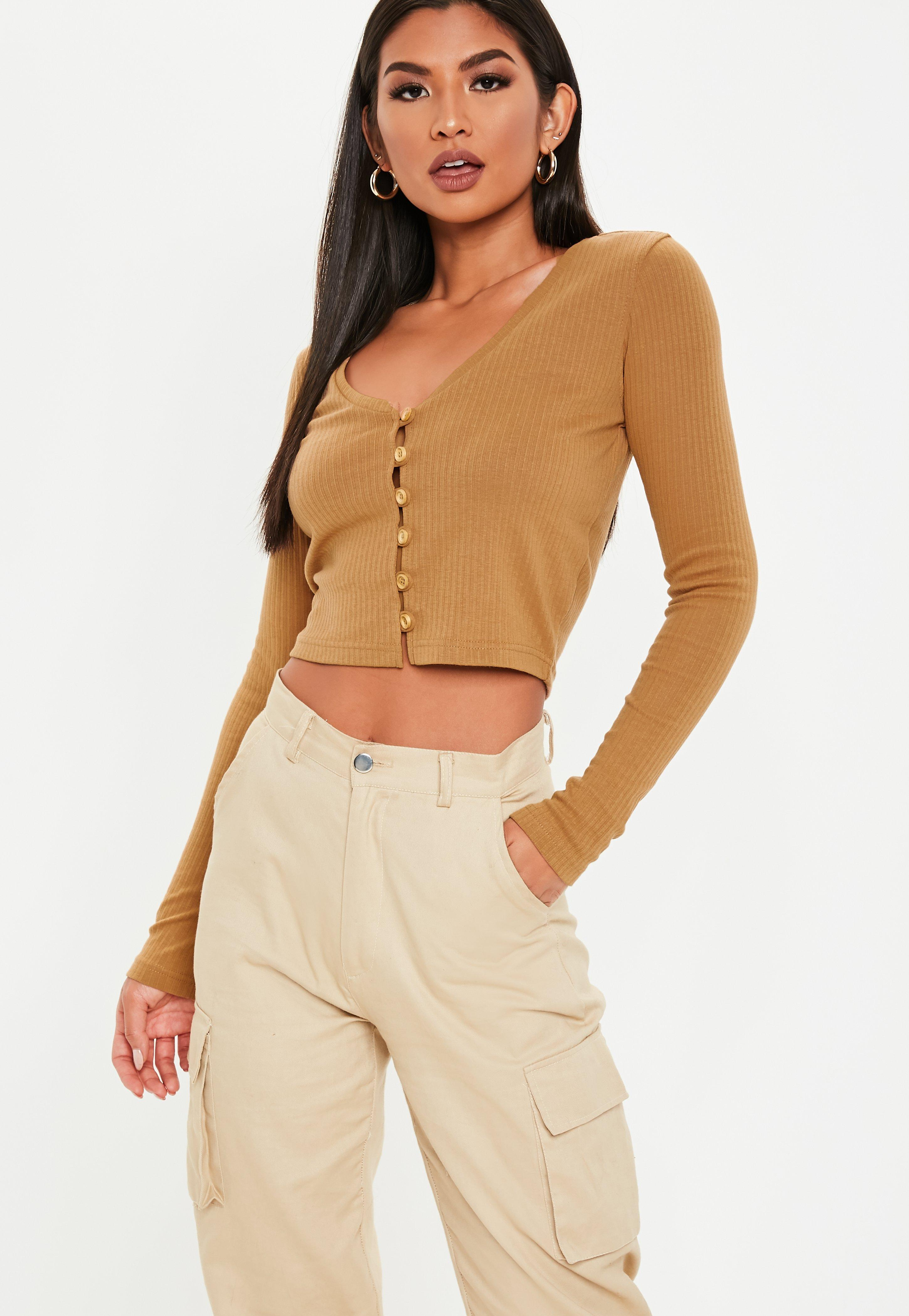 ee8e934ee9d Camel Wooden Button Front Long Sleeve Crop Top | Missguided
