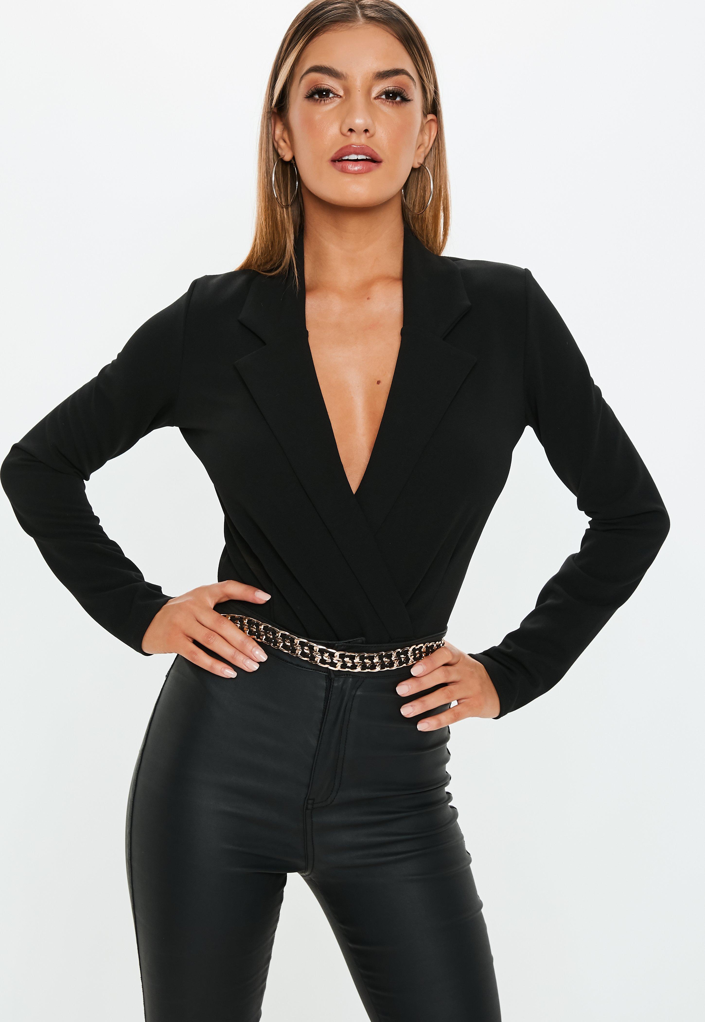 Black Crepe Blazer Wrap Front Bodysuit  4318cdbbd