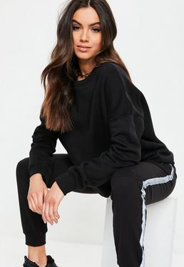 ... Black Basic Oversized Sweatshirt 6870a36e7