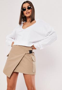 e497741b06dab White Notch Neck Sleeveless Crop Top · White V Front Oversized Sweatshirt