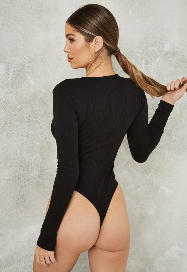 Missguided - Button Front Ribbed Bodysuit - 4