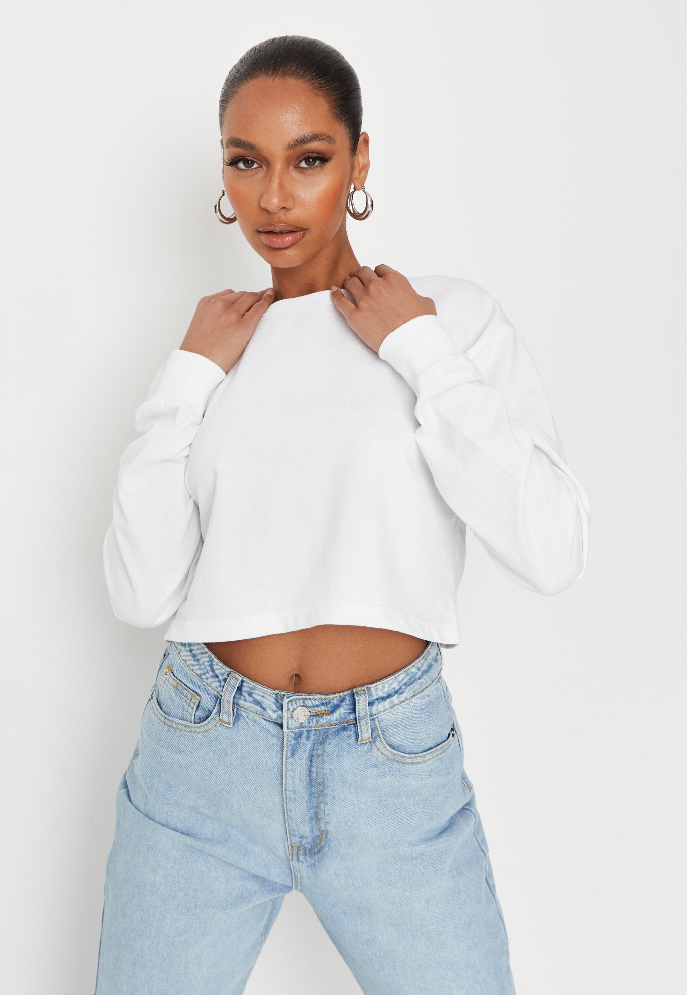 07ae0002 White Long Sleeve Cropped Sweatshirt
