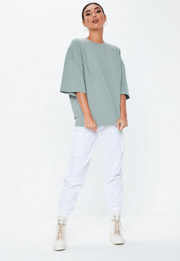 Gray Drop Shoulder Oversized T Shirt by Missguided