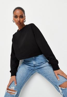5eb6d01a5e91f Black Ribbed Sleeveless Crop Top  Black Cropped Sweatshirt