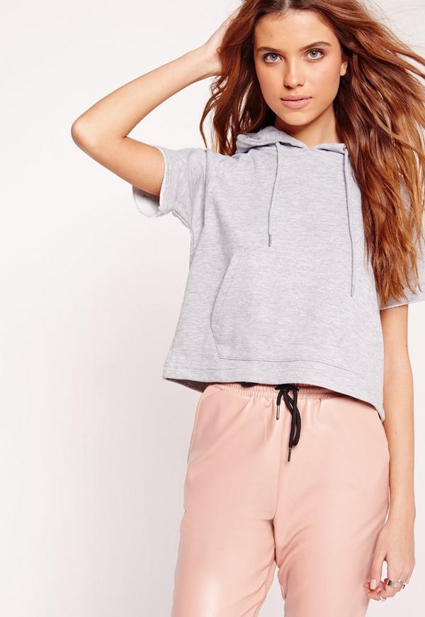 Pocket Front Short Sleeve Hoodie Grey