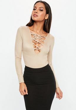 Nude Faux Suede Lace Up Long Sleeve Bodysuit