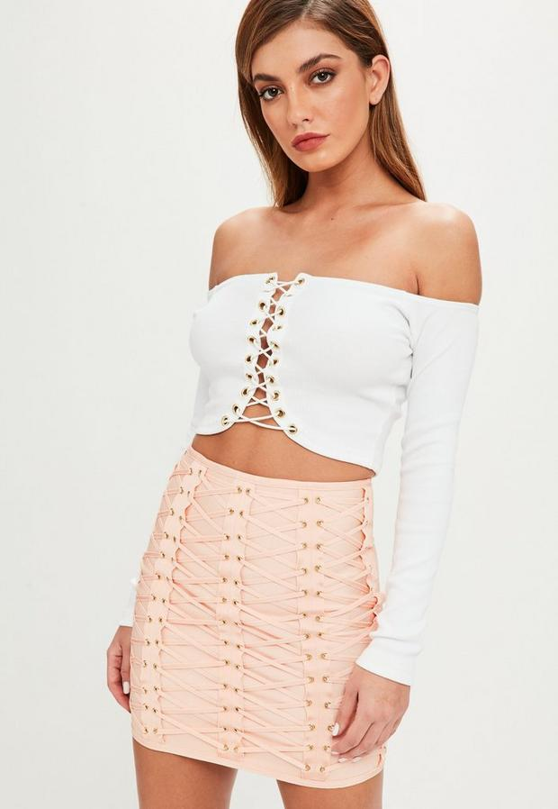 Product photo of White rib eyelet lace up long sleeve crop top white