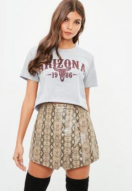 Grey Arizona Slogan Crop T Shirt