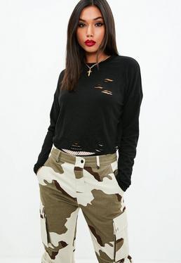 Black Distressed Long Sleeve Sweatshirt