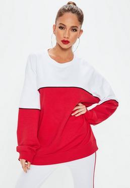 Czerwono-biała bluza
