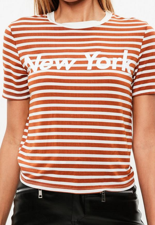 orange striped new york slogan t shirt missguided. Black Bedroom Furniture Sets. Home Design Ideas