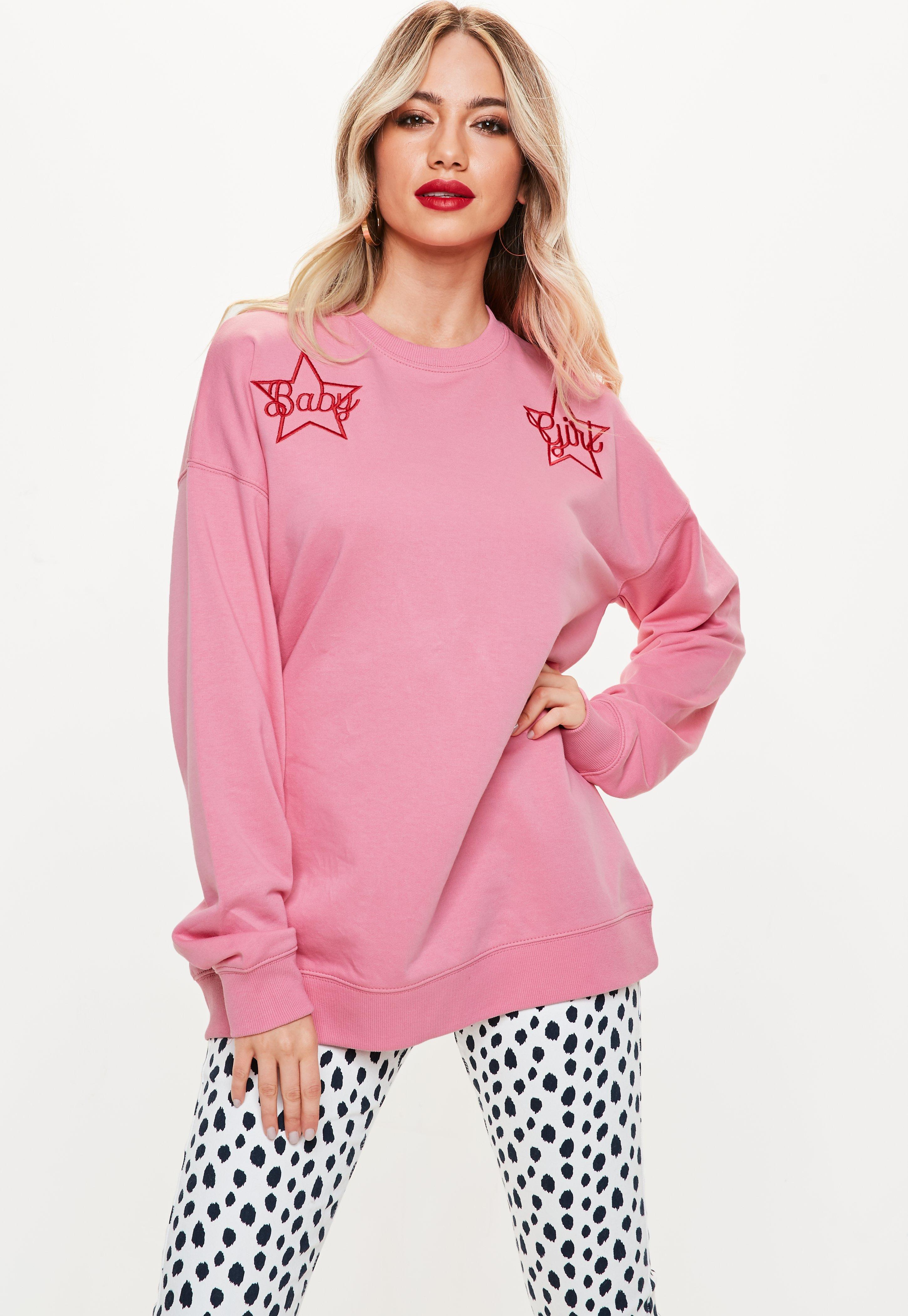 pink baby girl star embroidered sweatshirt missguided
