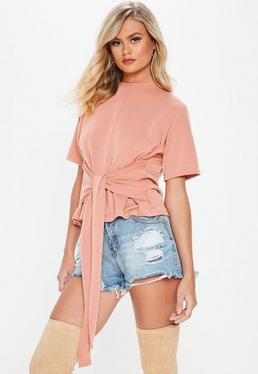 Pink Soft Loopback Tie Front Top