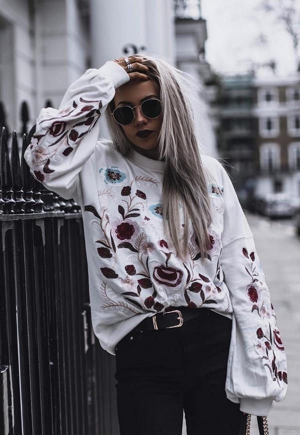 Cream Floral Embroidered Long Sleeve Sweatshirt by Missguided