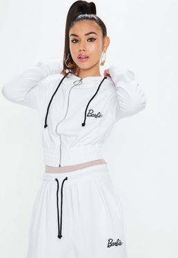Barbie X Missguided White Long Sleeve Zip Through Hooded Top