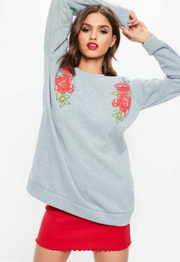 Gray Floral Embroidered Oversized Sweatshirt