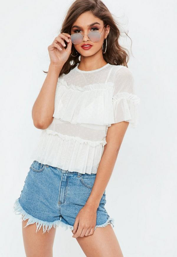 White Dobby Spot Mesh Frill Short Sleeve Top by Missguided