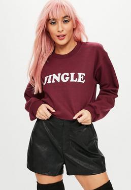 Burgundy Christmas Jingle Slogan Cropped Sweatshirt