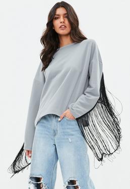 Gray Fringe Back Sweatshirt