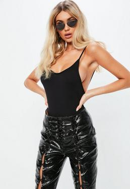 Fanny Lyckman x Missguided black plunge high leg bodysuit