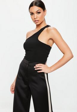 Black Asymmetric Sleeveless Bodysuit