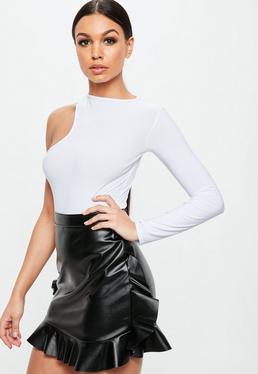 White Asymmetric Long Sleeves Bodysuit