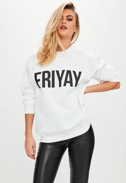 White FRIYAY Slogan Sweatshirt