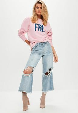 Pink FRI Slogan Sweatshirt