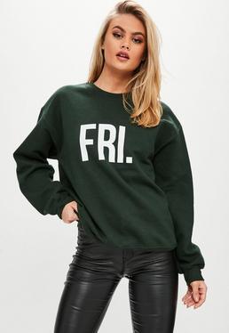 Green FRI Slogan Sweatshirt