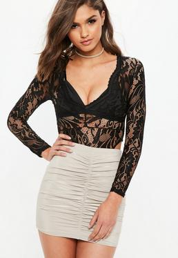 Black High Leg Lace Bodysuit
