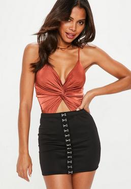 Rust Knot Front Cut Out Strappy Bodysuit