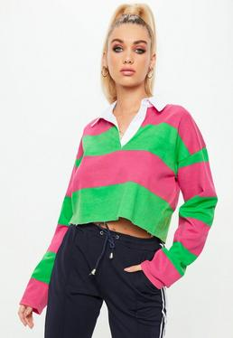 Green Striped Cropped Rugby Shirt Top