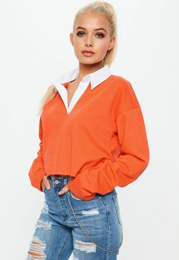 Orange Cropped Rugby Shirt Top Missguided