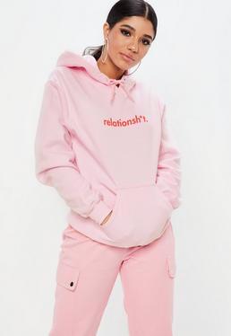 Pink Relationship Slogan Hoodie