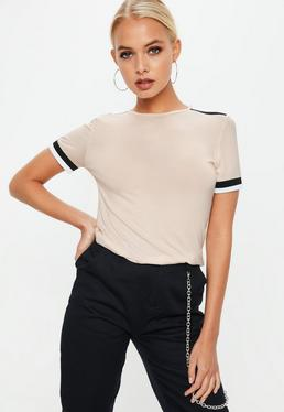 Nude Triple Stripe Shoulder T-Shirt
