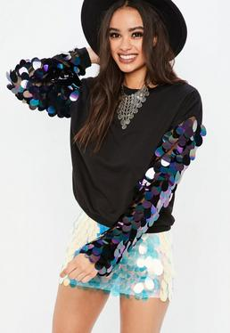 Black Big Disc Sequin Sweatshirt