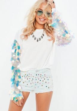 White Big Disc Sequin Sweatshirt