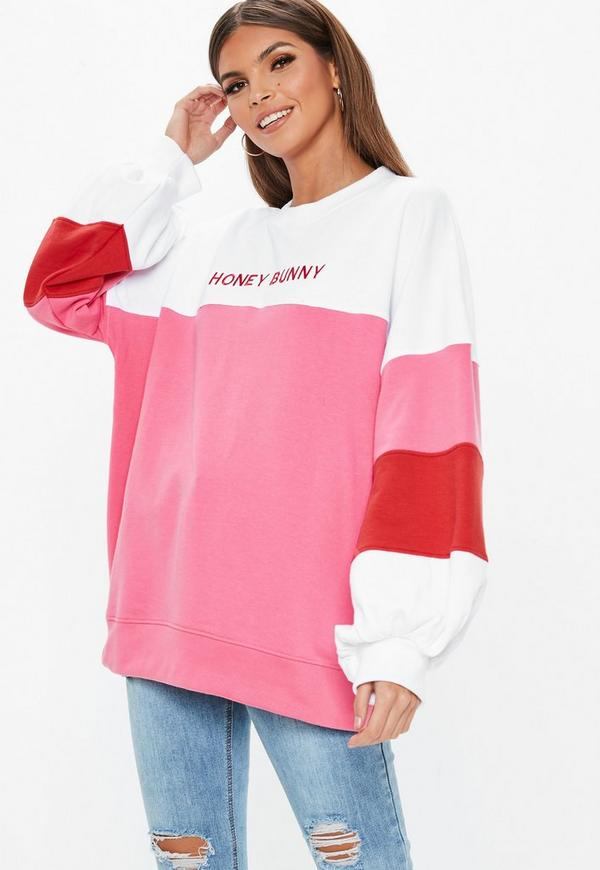 9df2a983808 White Oversized Contrast Honey Bunny Embroidered Slogan Sweatshirt ...