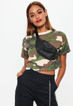 Khaki Camo Roll Sleeve Cropped T-shirt