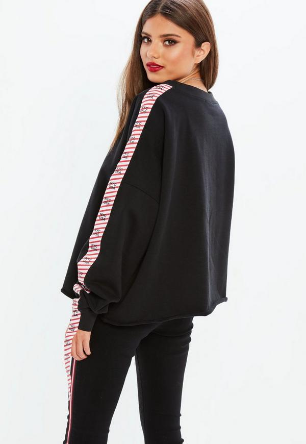 Black Slogan Sleeve Tape Sweatshirt by Missguided