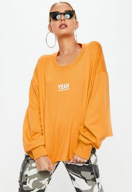 Orange Yeah Slogan Boxy Raw Hem Sweatshirt