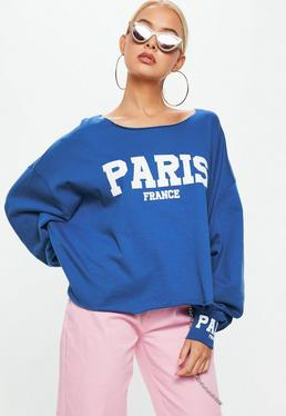 Blue Paris Slogan Boxy Sweatshirt