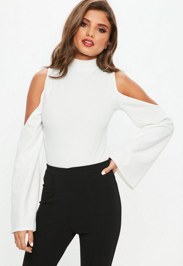 508089dad Shoptagr | White Cold Shoulder Split Sleeve Bodysuit by Missguided